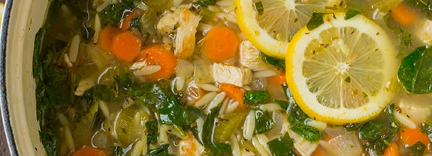 Lemon Chicken and Spinach Orzo Soup